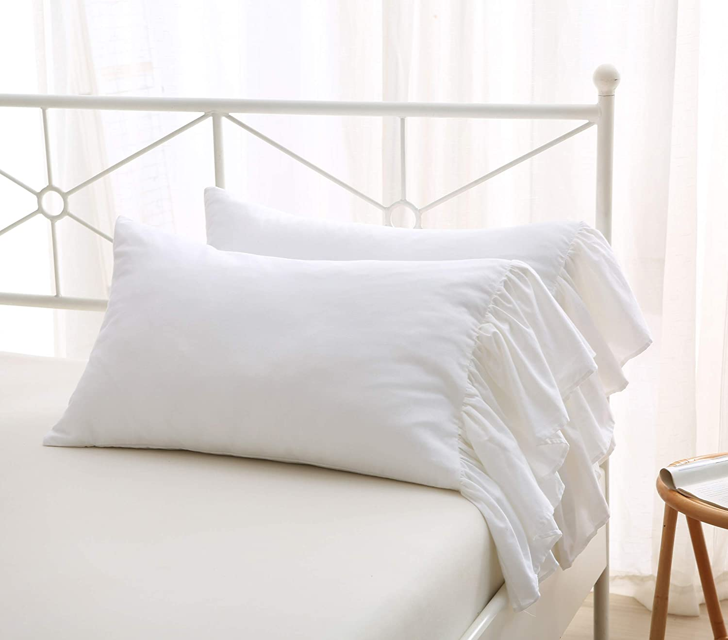 Meaning4 White Bed Pillow Covers Shams Cases with Long Ruffles Standard Size Cotton