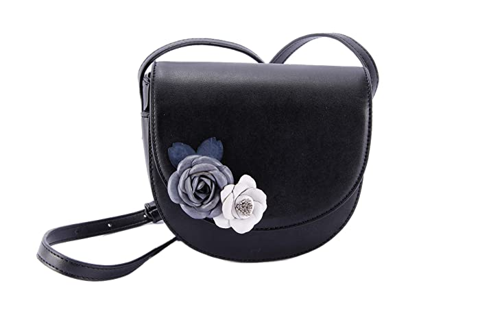 573d75b4fa Amazon.com  Womens Flower Leather Saddle Bag