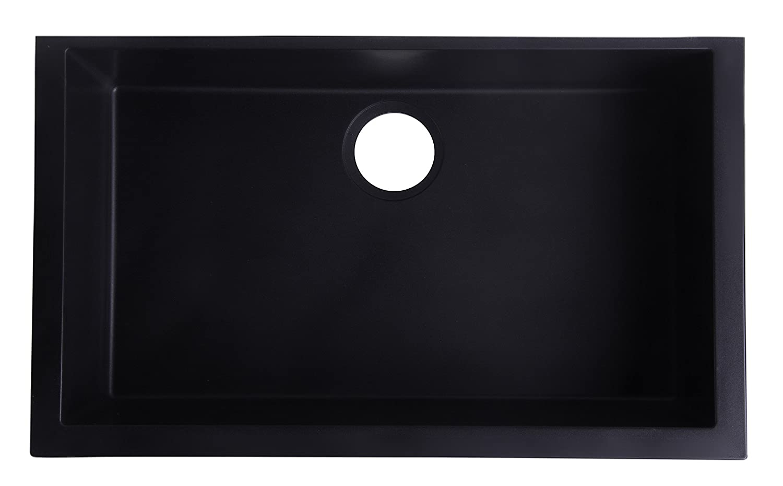 "ALFI brand AB3020UM-BLA Undercount Single Bowl Granite Composite Kitchen Sink, 30"", Black"