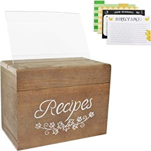 Vintage Wood Recipe Organizer Box, Rustic Brown Wood Recipe Holder Box with 80 4 x 6 inch Double Sided Recipe Cards, 8 Dividers and 1 Clear Card Frame, 6.9 x 3.9 x 5.3 Inch