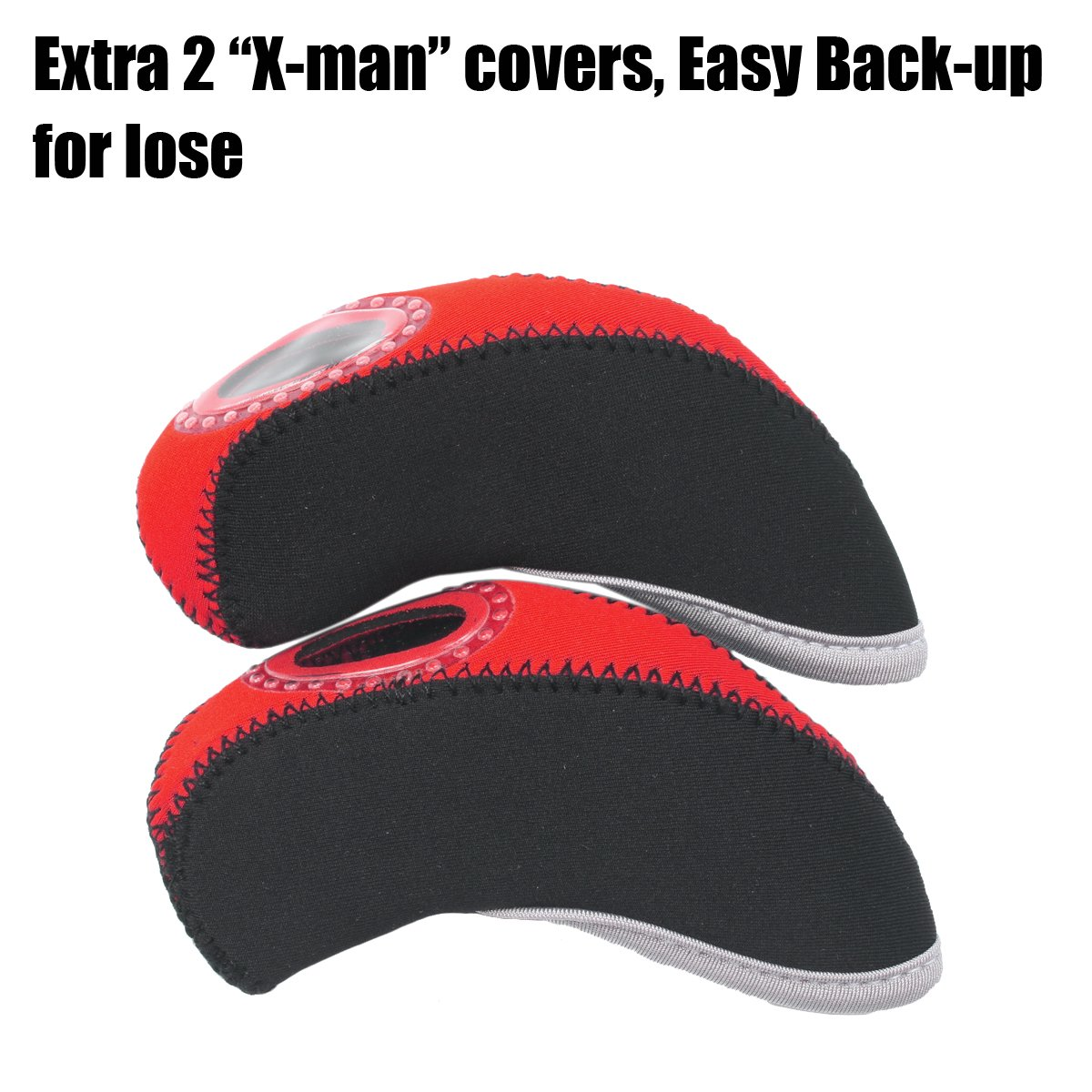 Summer House 12 Pcs Waterproof Golf Iron Head Covers 3-9 A/S/P/Lw/Lw Oversize Soft Pu fit Taylormade M1 Callaway Titleist AP2 Ping G Cobra PXG 0311 / 0311T etc Iron Sets Head (Neoprene-Red) by Summer House (Image #1)