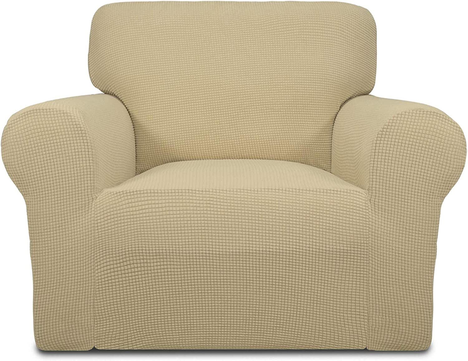 Easy-Going Stretch Sofa Slipcover 1-PieceSofa Cover Furniture Protector Couch Soft with Elastic Bottom Kids, Spandex Jacquard Fabric Small Checks(Chair,Beige)