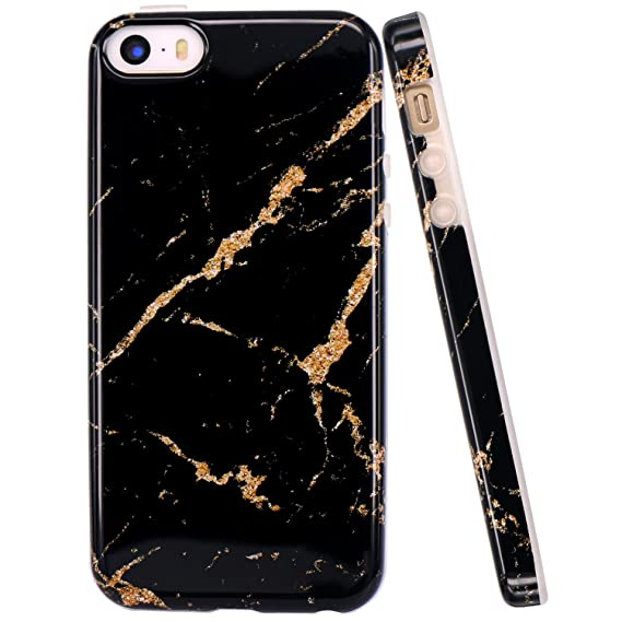 the latest c9b11 a9642 JAHOLAN iPhone 5 Case, iPhone 5S Case Black Gold Marble Design Slim  Shockproof Clear Bumper TPU Soft Case Rubber Silicone Cover Phone Case for  iPhone ...