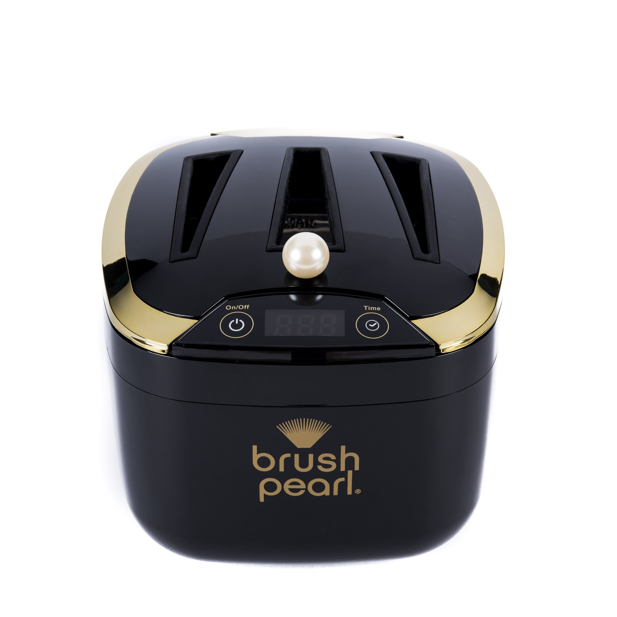 BrushPearl Electric Professional Strength Ultrasonic Makeup Brush Cleaning Device, Keeps Cosmetic Make Up Brushes Soft & Clean with the Push of a Button, BP 400, Black, Bonus 4 oz. Cleanser