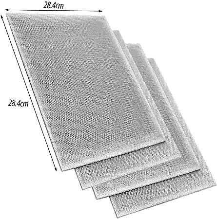 Spares2go - Filtros grandes de malla de aluminio para ventilador de campana extractora Bosch, 28,4 x 28,4 x 0,6 cm (paquete de 4): Amazon.es: Hogar