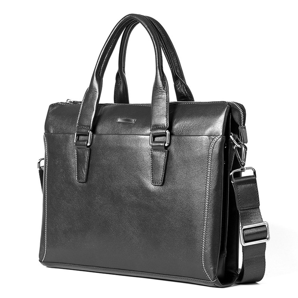 Leather Briefcase Mens Business Handbag Computer Bag Large Capacity