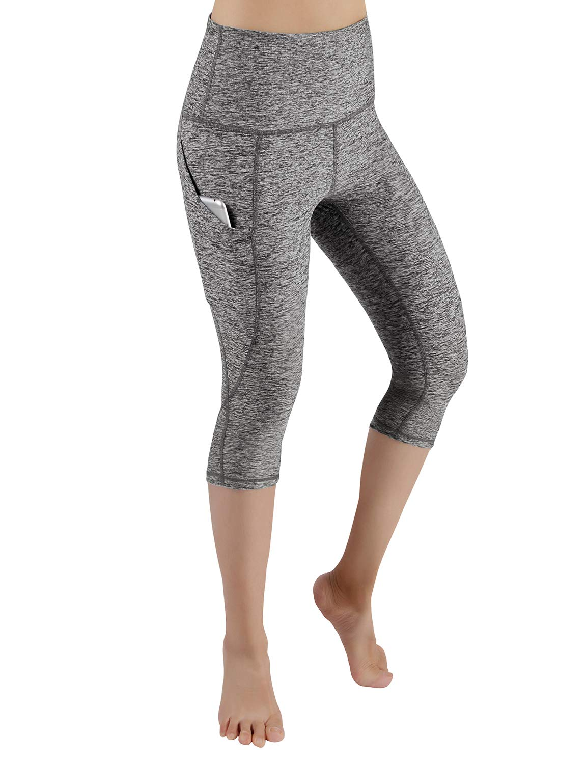 ODODOS High Waist Out Pocket Yoga Capris Pants Tummy Control Workout Running 4 Way Stretch Yoga Leggings,GrayHeather,X-Small by ODODOS (Image #2)