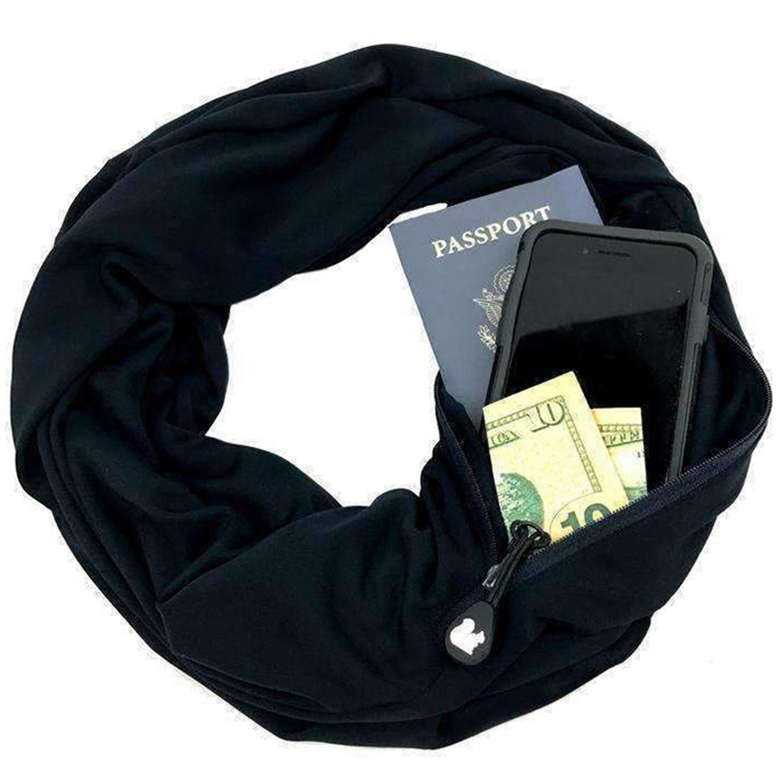 JOKHOO Infinity Scarf Wrap with Secret Hidden Zipper Pocket, Best Travel Scarfs (Black, One size)