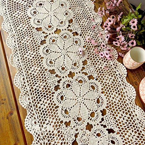 Hand Crocheted Runner (Ustide 100% Cotton Handcraft Crochet Table Runners Flag Shabby Vintage Crocheted Table Sofa Doily , Beige, 15