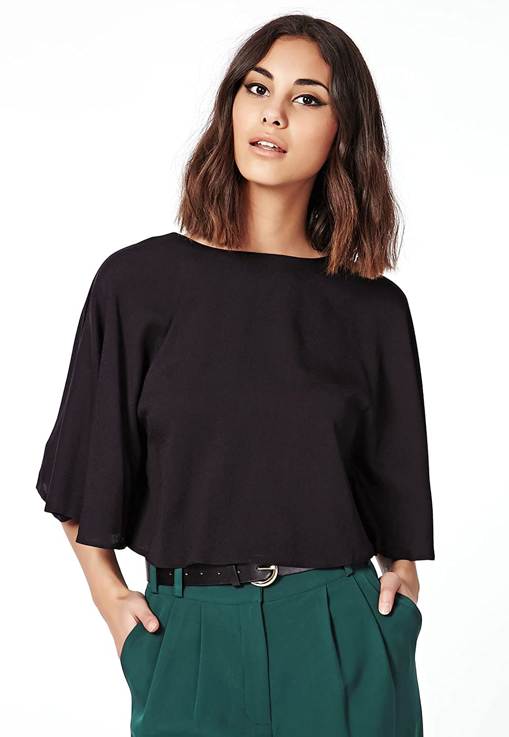 Renly Womens Boxy Cropped Cloak Top