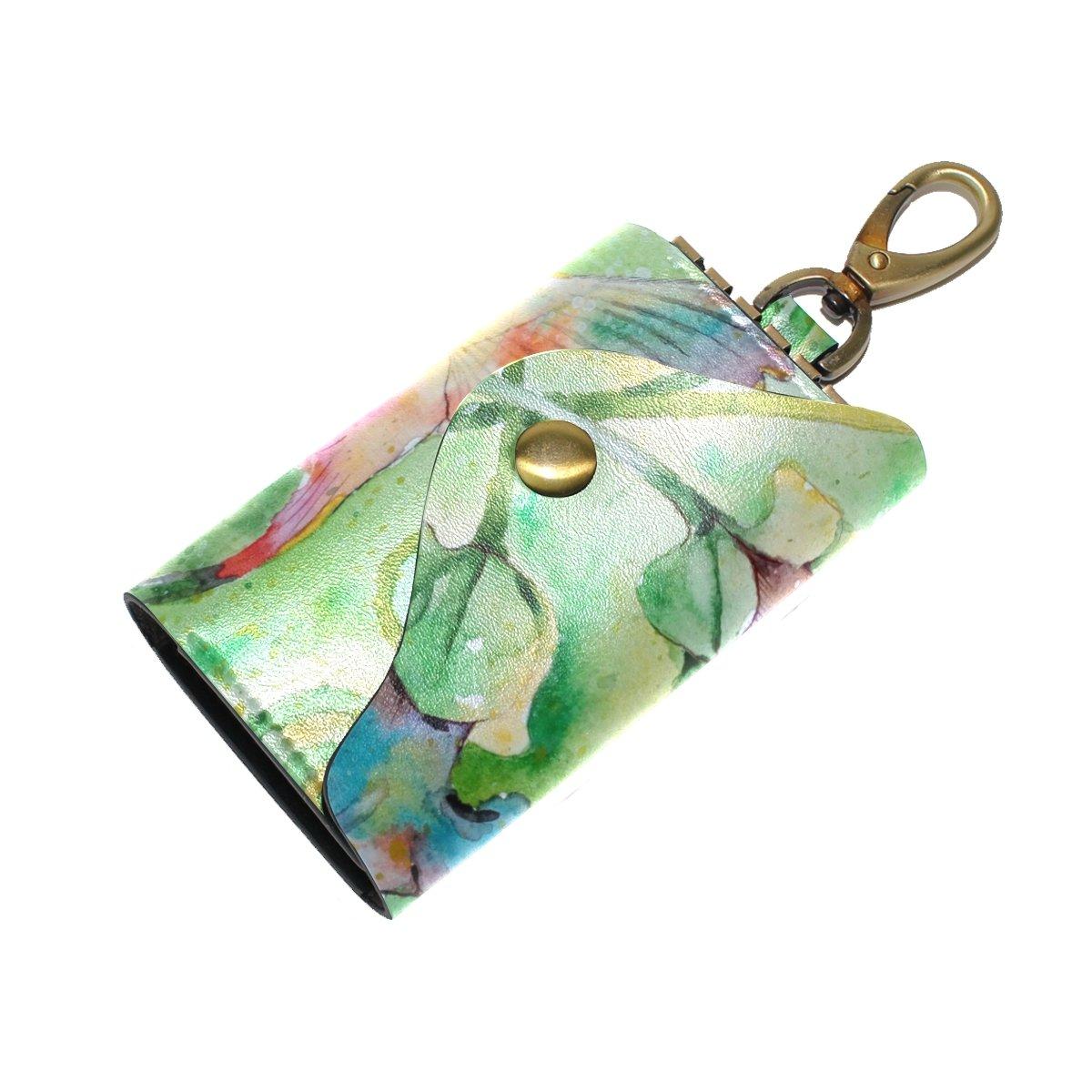 DEYYA Hummingbird Flowers Leather Key Case Wallets Unisex Keychain Key Holder with 6 Hooks Snap Closure