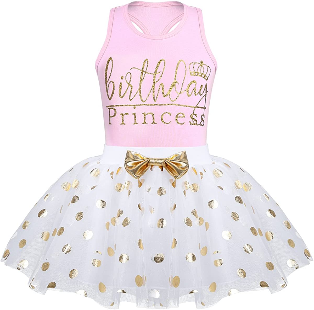 Freebily Baby Toddlers Girls Fancy Shiny Polka Dots Birthday Outfits Princess Racer Back Tank Tops with Mesh Tutu Skirts Set