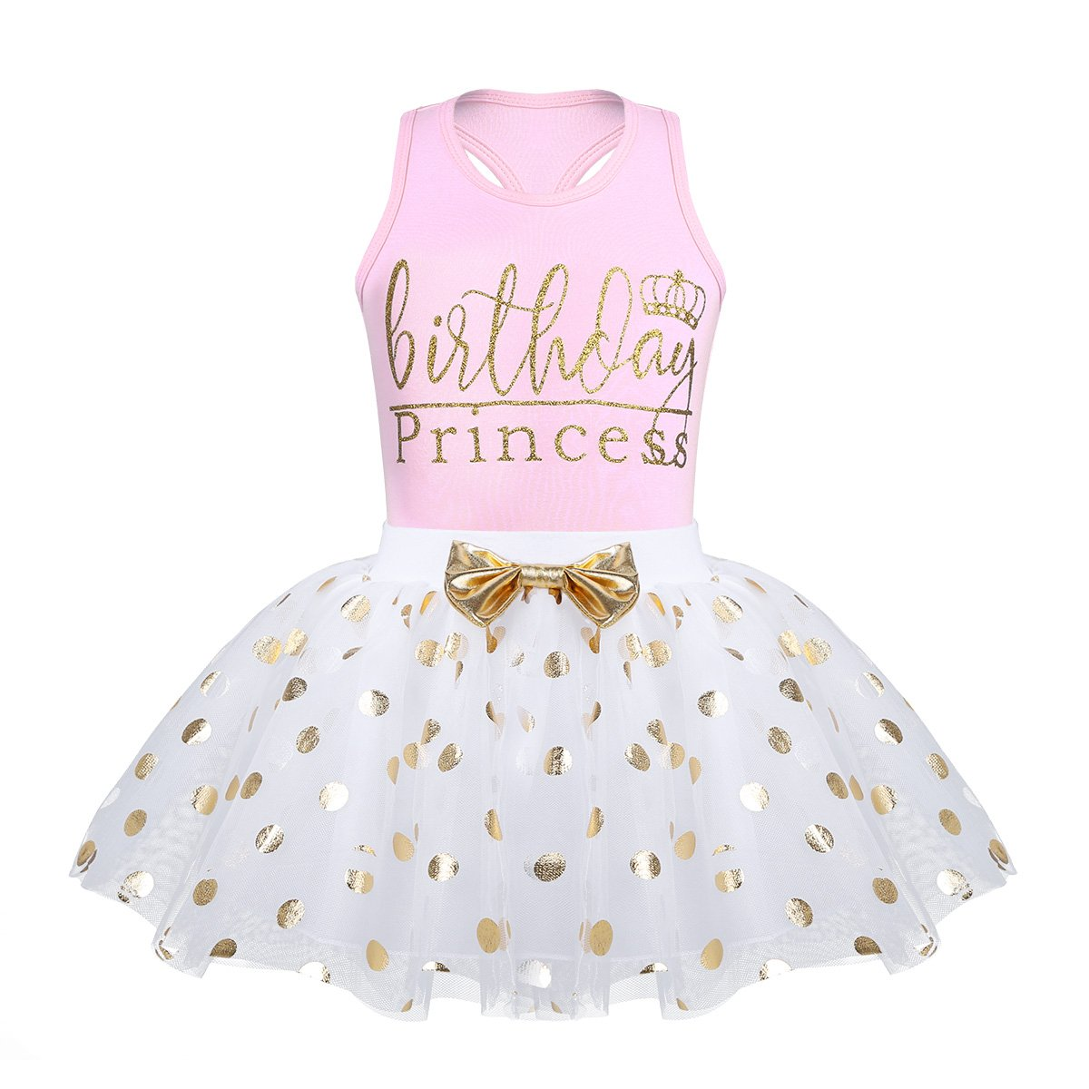 CHICTRY Toddler Little Girls Fancy Sequin Polka Dots Birthday Outfit Racer-Back Shirt with Mesh Tutu Skirt Set Pink 3-4