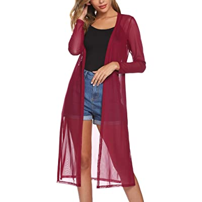 Abollria Women's Long Sleeve Cardigans Open Front Draped Kimono Loose Cardigan at Amazon Women's Clothing store