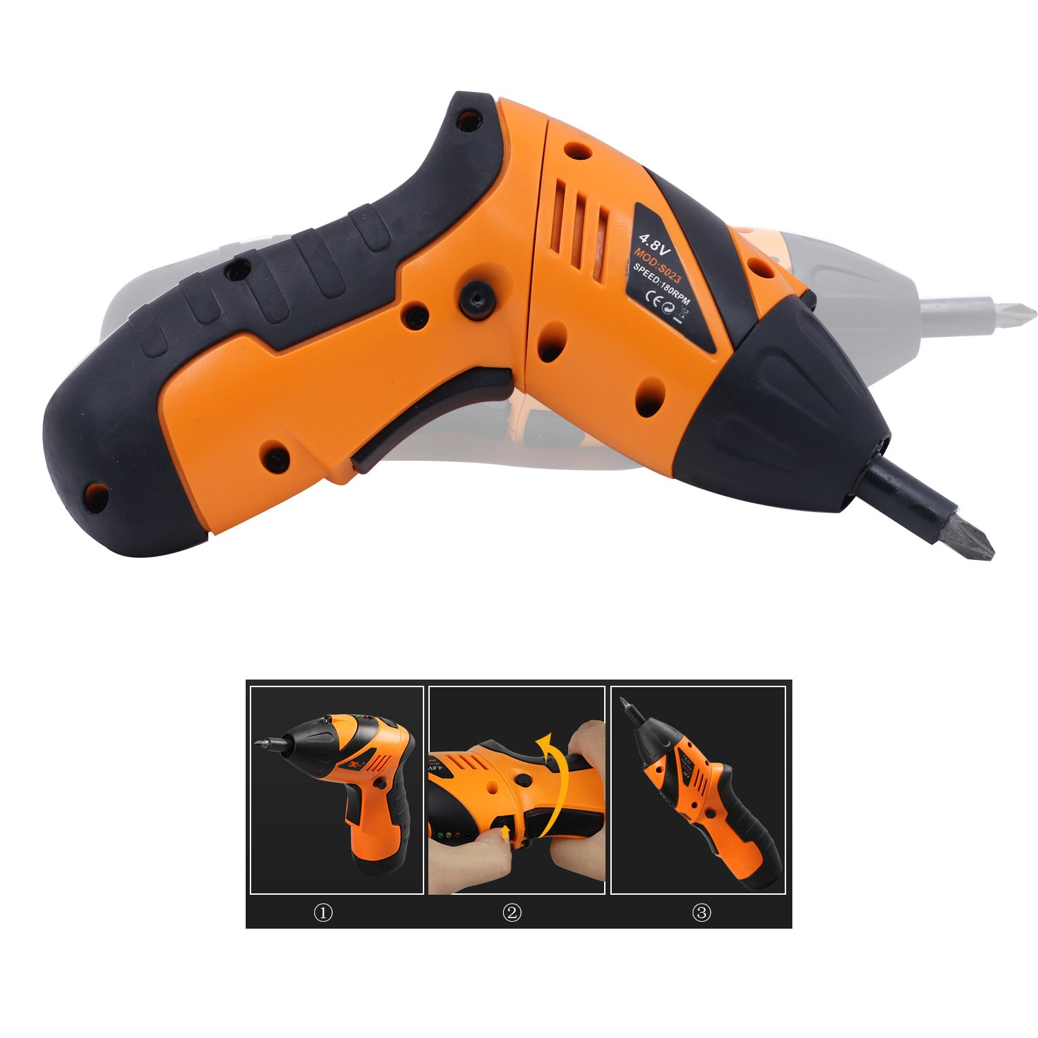 Exxacttorch Cordless Rechargeable Screwdriver 4.8-Volt 600mAh Ni-Cd with LED,34pcs Driver Bits and 9 pcs Extension Bit Holder,USB Charging Cable Included