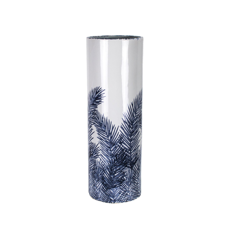 Sagebrook Home 12188-03D Ceramic Vase 7 x 7 x 18.5 Inches Blue//White