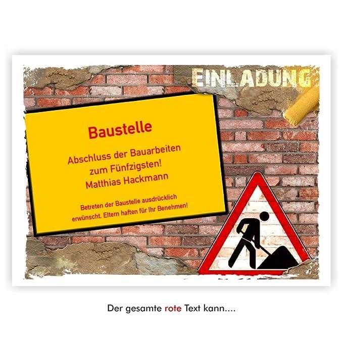 Einladungskarte Zum Geburtstag Motiv Baustelle Mit Bagger Zweiseitig Auch  Für Gesellenprüfung Meisterprüfung Feste Partys Und Feiern, 50 Karten   17  X 12 ...