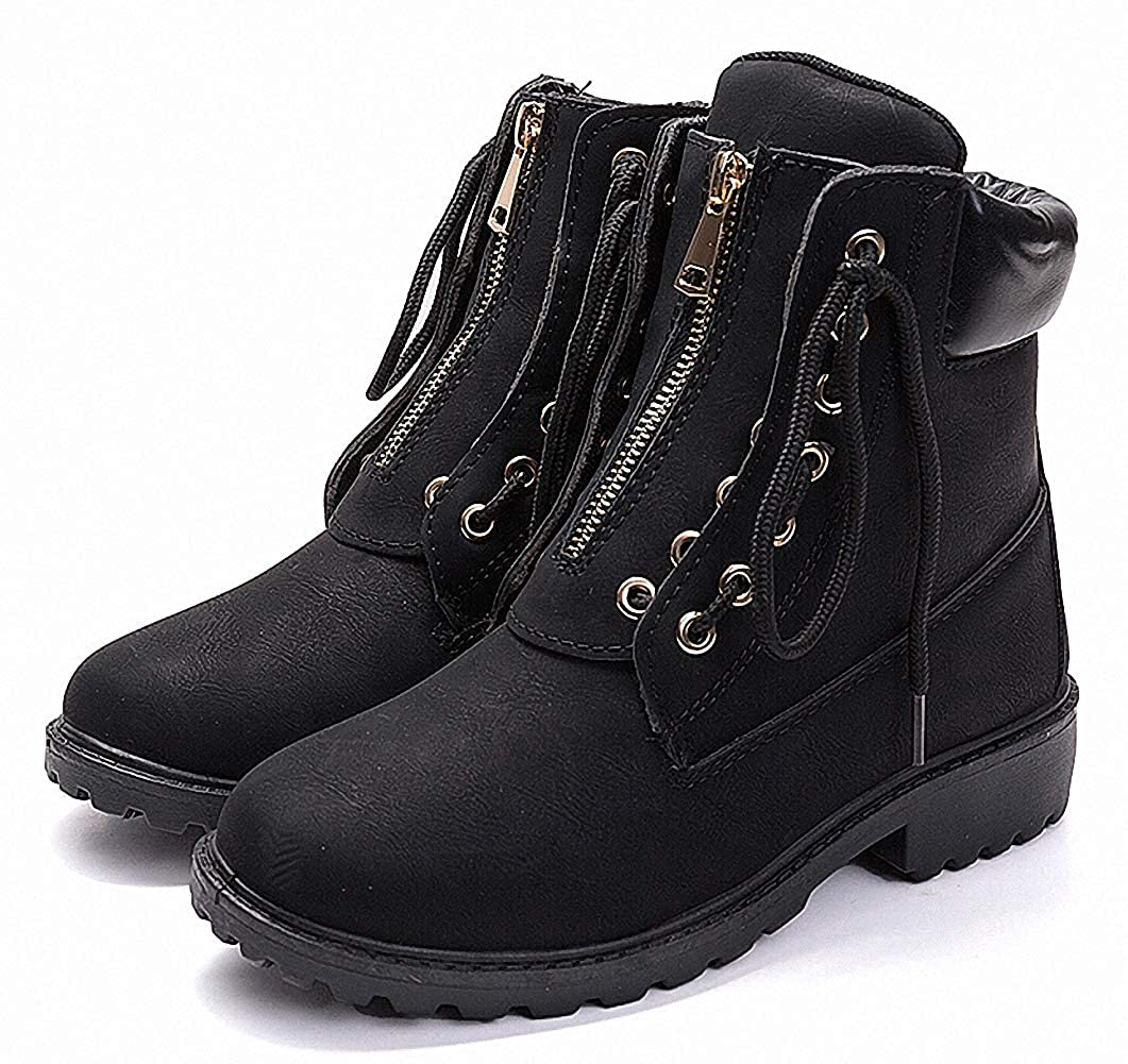ZHENZHONG Womens Lace up Zipped Winter Ankle Boots Snow Short Combat Booties