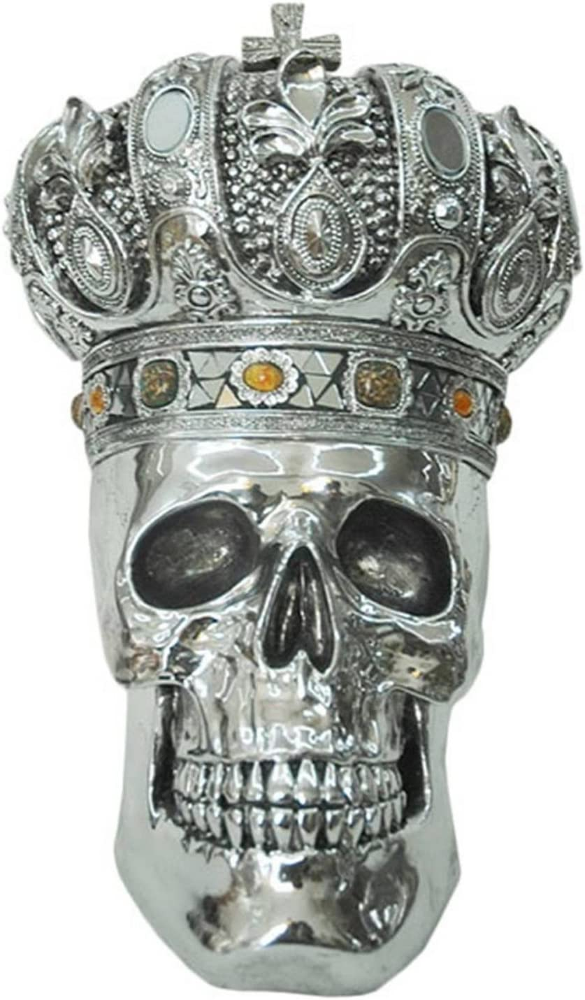 Middle-England King Skull With Crown 37cm Electroplated Resin Sculpture