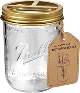 Andrew & Sarah Mason Jar Toothbrush Holder - Golden - with 16 Ounce Ball Mason Jar,Premium Rustproof 304 Stainless Steel Lid and Chalkboard Labels - Rustic Farmhouse Decor Bathroom Accessories/Golden