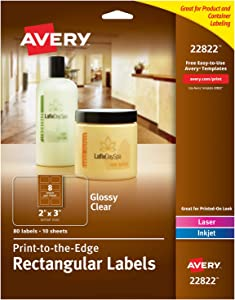 Avery Rectangle Labels for Laser & Inkjet Printers, 2 x 3 Inch, 80 Glossy Crystal Clear Labels (22822)