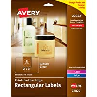 """Avery 22822 Rectangle Labels with Sure Feed, Laser & Inkjet Printers, 2"""" x 3"""", 80 Glossy Crystal Clear Labels"""