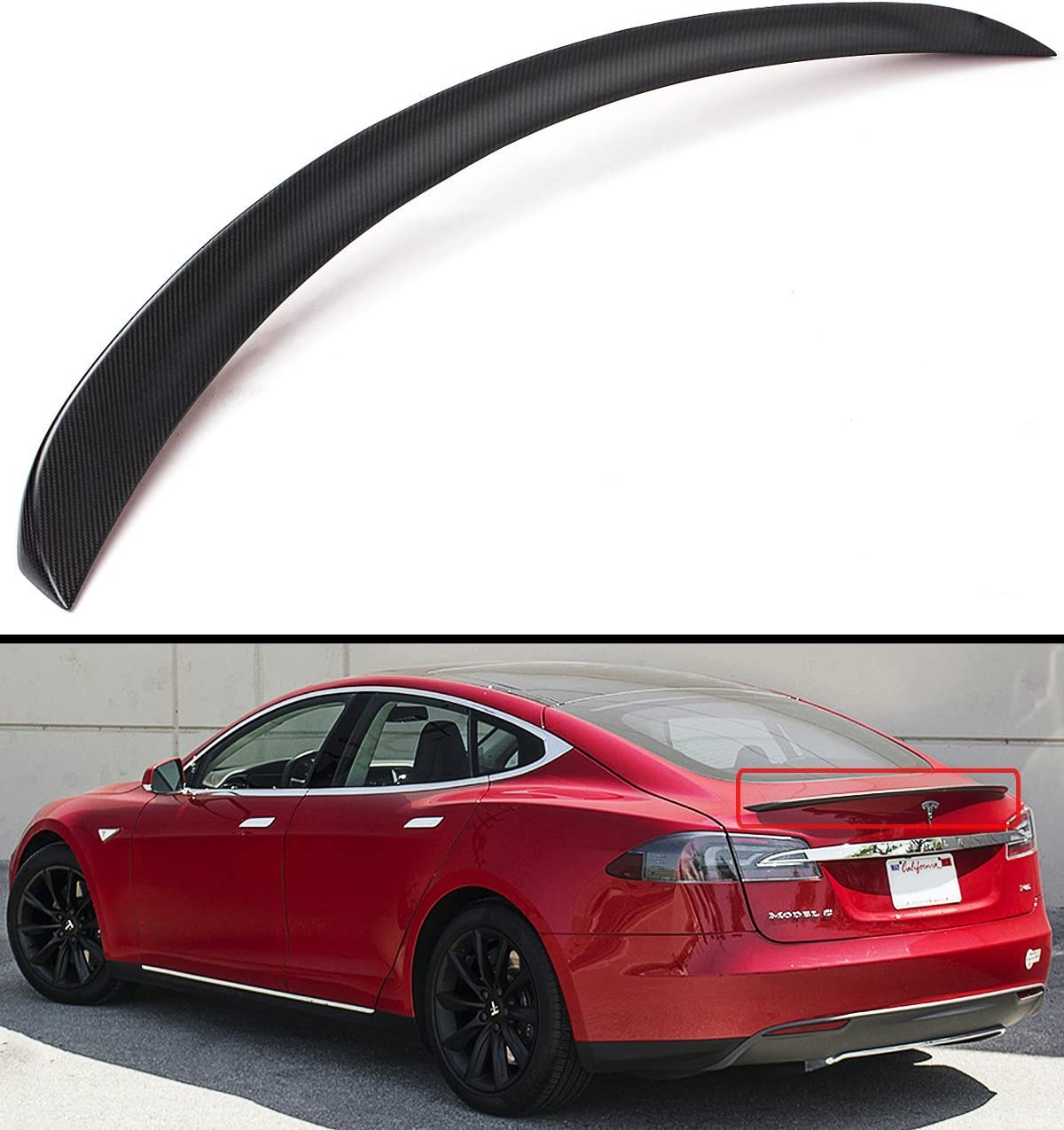 Cuztom Tuning Fits for 2012-2019 Tesla Model S 60D 75D P85 P90D P100D Glossy Carbon Fiber Factory Style Trunk Lid Spoiler Wing