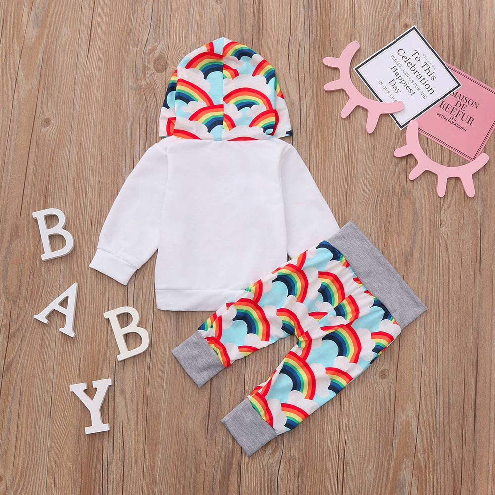 Baby Boy Girls Rainbow Print Outfits Sets Newborn Hoodie Letter Print Romper Jumpsuit Pants