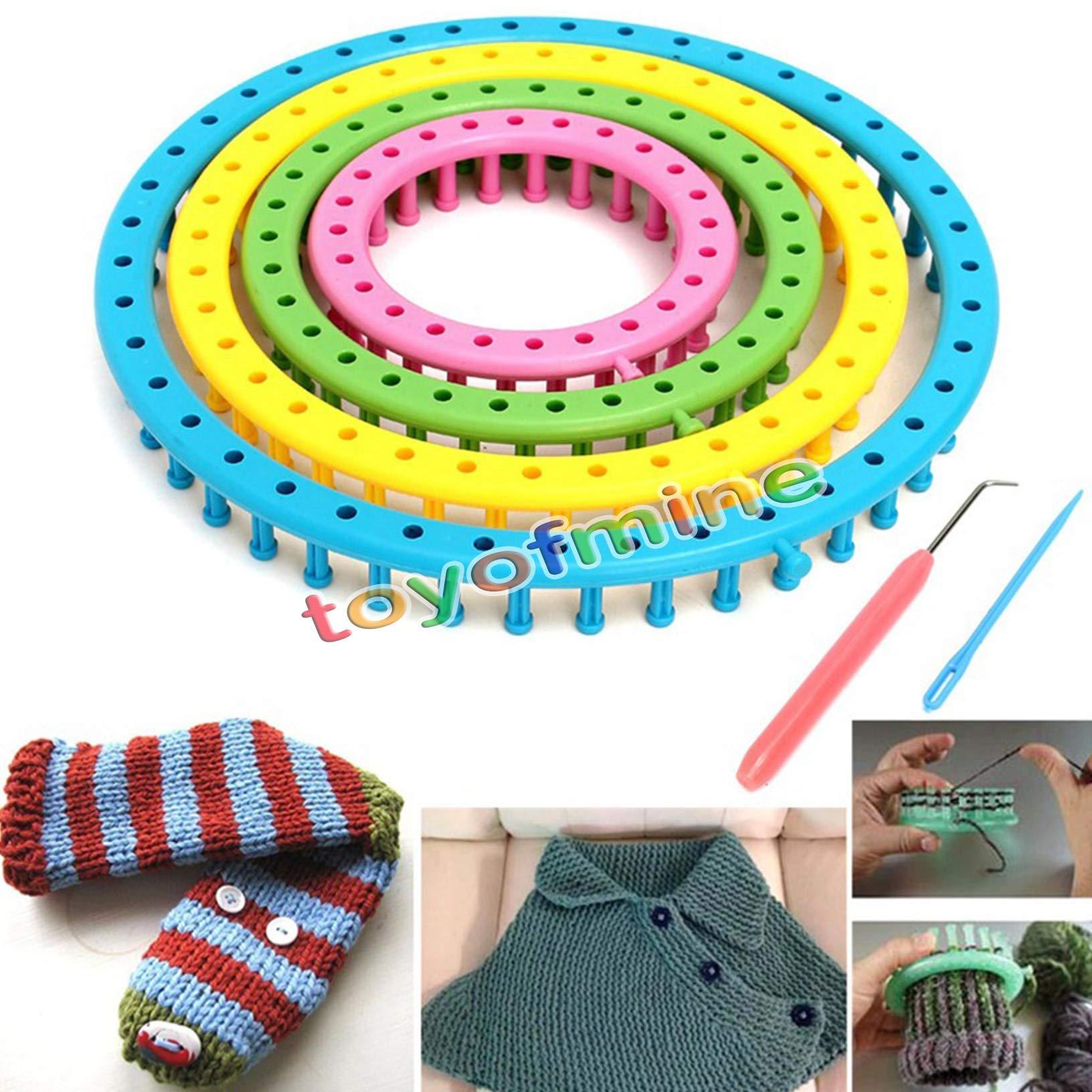 Davitu Useful 6Pcs/Set DIY Knitting Tool Set Round Knitter Looms Ring Yarn Needle Sock Scarf Hat Maker Weave Loom Kit Craft Sewing Tool