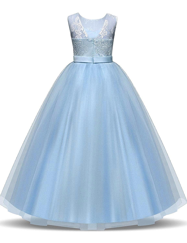 22a96ecad NNJXD Vvestido Niña Fiesta, Vestidos de Comunion Niña, Vestido de Novia de  Princesa niñas, 6-13 Años: Amazon.es: Ropa y accesorios