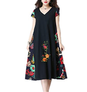 WalterTi cotton linen vintage print loose dress vestidos femininos dresses Navy Blue M