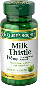 Milk Thistle by Nature's Bounty, Herbal Health Supplement, Supports Liver Health, 175mg, 100 Softgels