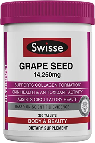 Swisse Ultiboost Grape Seed Supplement Promotes Skin Health Collagen Production Improves Circulation Potent Antioxidant Vitamin C 300 Tablets