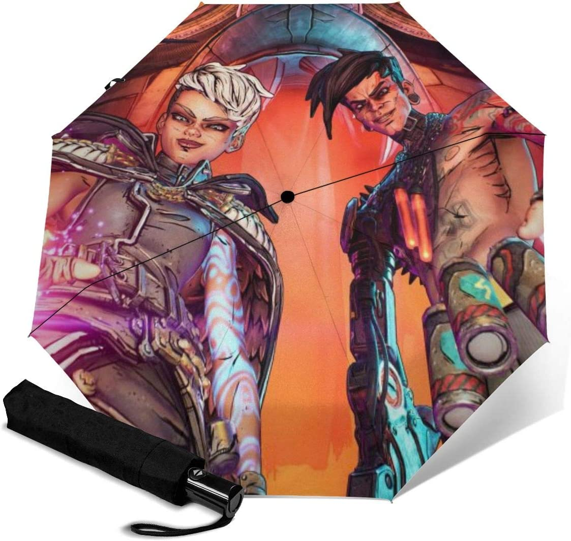Borderlands Calypso Twins 3D Pattern PG Cloth Lightweight Foldable Tri-fold Umbrealla For Rain Sunshade Anti-UV,Qucik-dry Wind Resistance Automatic Umbrellas