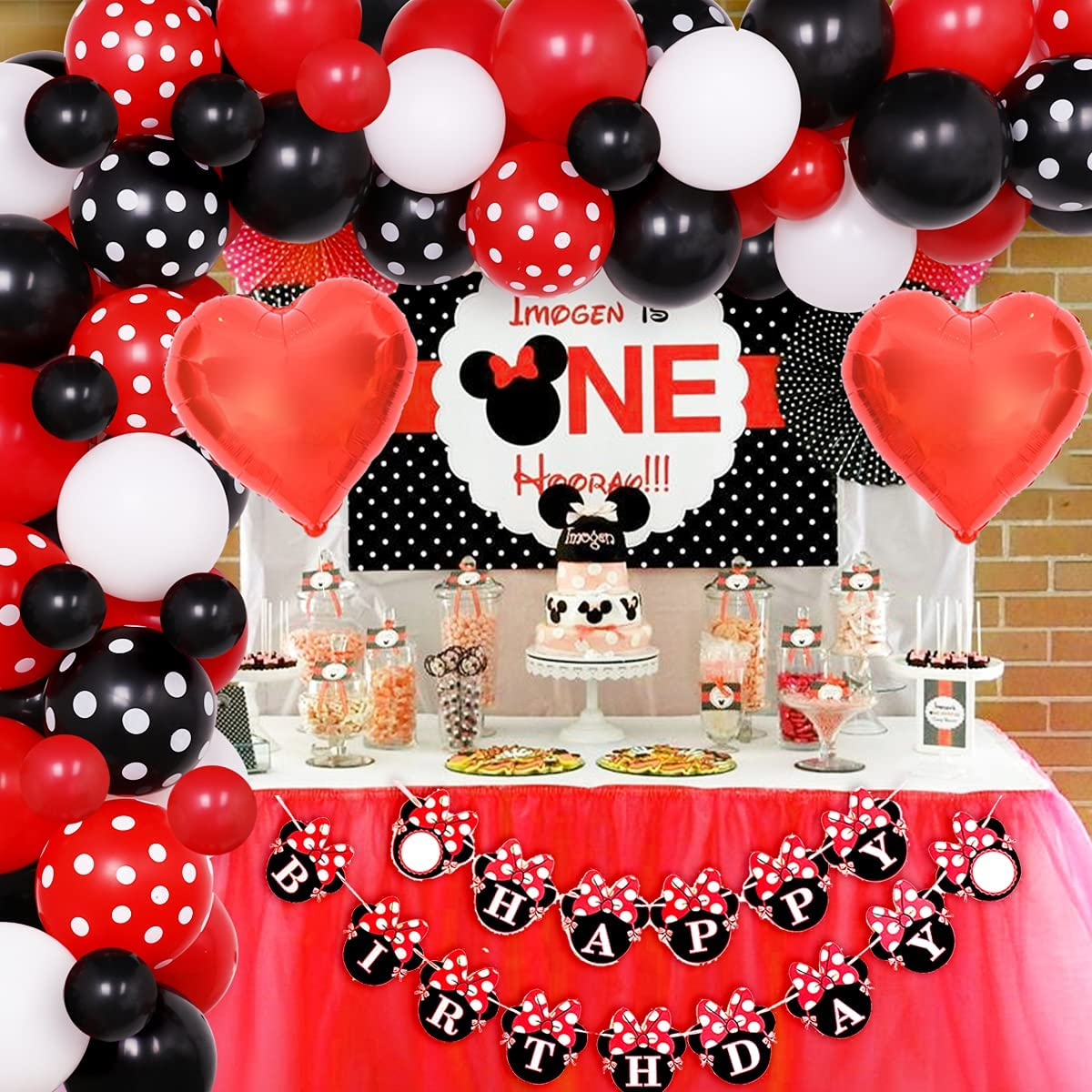 Minnie Balloon Arch Decorations Minnie Party Decor Cake Table Gift Table Red Minnie Mouse Birthday Balloons DIY KIT easy to assemble