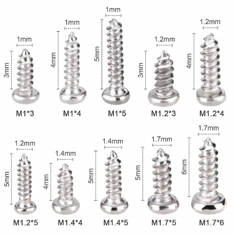 M1 M1.2 M1.4 M1.7 Mini tornillos autorroscantes 1000 piezas Juego de tornillos autorroscantes peque/ños Acero inoxidable para relojes Gafas Electr/ónica con caja de pl/ástico