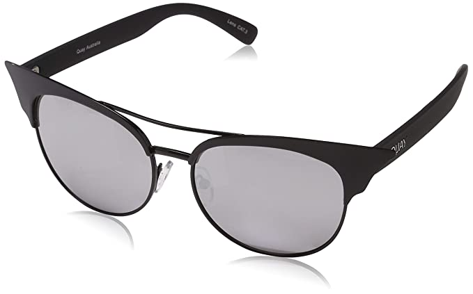 17dda65243 Quay Australia ZIG Women s Sunglasses Sharp Cat Eye Mirrored Lenses -  Black Silver
