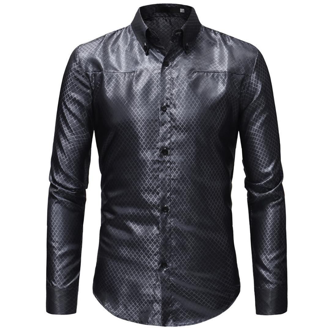 OWMEOT Mens Classic Slim Fit Contrast Inner Long Sleeve Dress Shirts (Black, L)