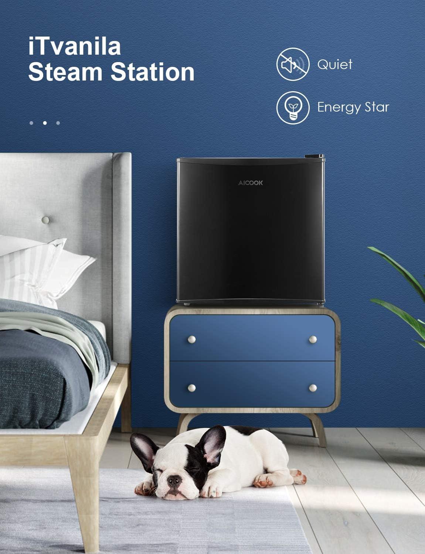 Adjustable Thermostat Control Office Dorm Super Quiet for Bedroom Mini Fridge 1.6 Cu.Ft Small Fridge with Freezer AICOOK Energy Star Compact Refrigerator with Single Reversible Door Apartment
