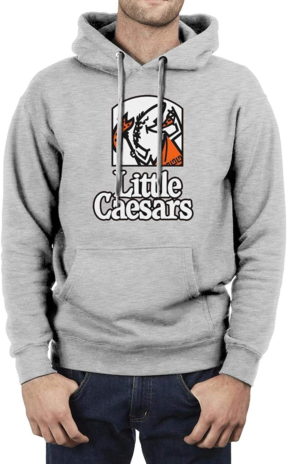 Mens Fashion Hoodies Little-Caesars-Mascot Vintage Long Sleeve Sweatshirt Print Workout Pocket Sports Top