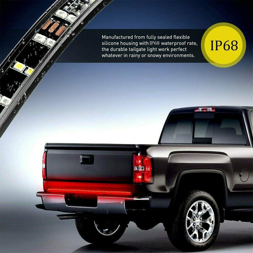 AXECO 60 LED Truck Tailgate Light Bar Double Row Sequential Turn Signal Taillight Strip 5-Function Brake Reverse Light 240 LED IP68 Waterproof for Ford Chevy Dodge Ram Toyota Pickup Running