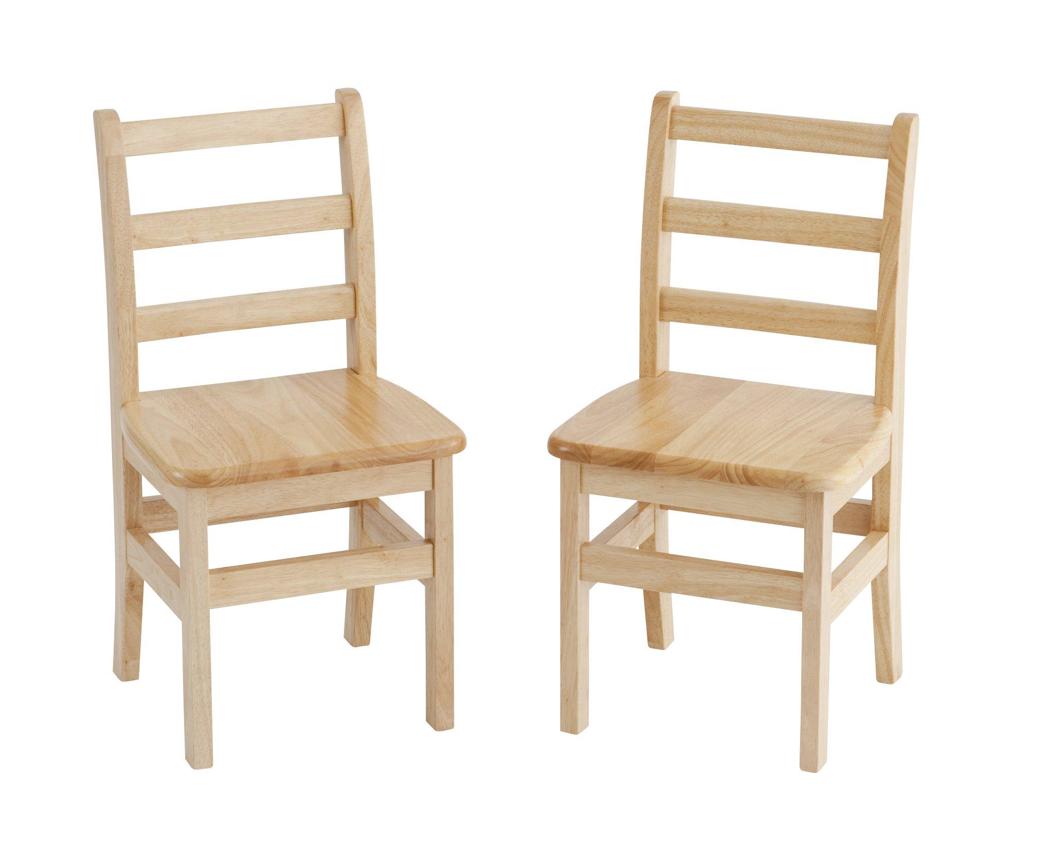 ECR4Kids 14'' Hardwood 3-Rung Ladderback Chair, Natural (2-Pack)