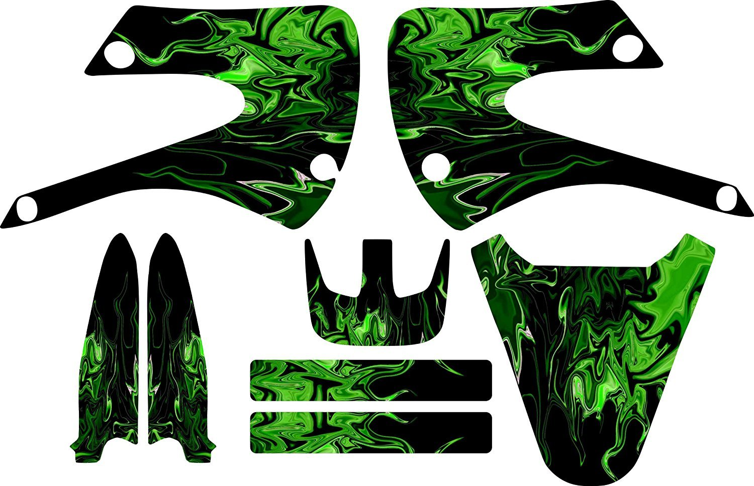 Kawaskai Green Flames Kx85 Kx 85 Graphic Kit 01-12 Green Graphics Decal Sticker Mx Kx100 100 Boston Decal Works COMINU001166