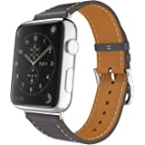 MoKo Band for Apple Watch Series 1 Series 2, Luxury Genuine Leather Smart Watch Band Strap Single Tour Replacement for 42mm Apple Watch 2015 & 2016 All Models, Quartz GRAY (Not Fit 38mm Versions)