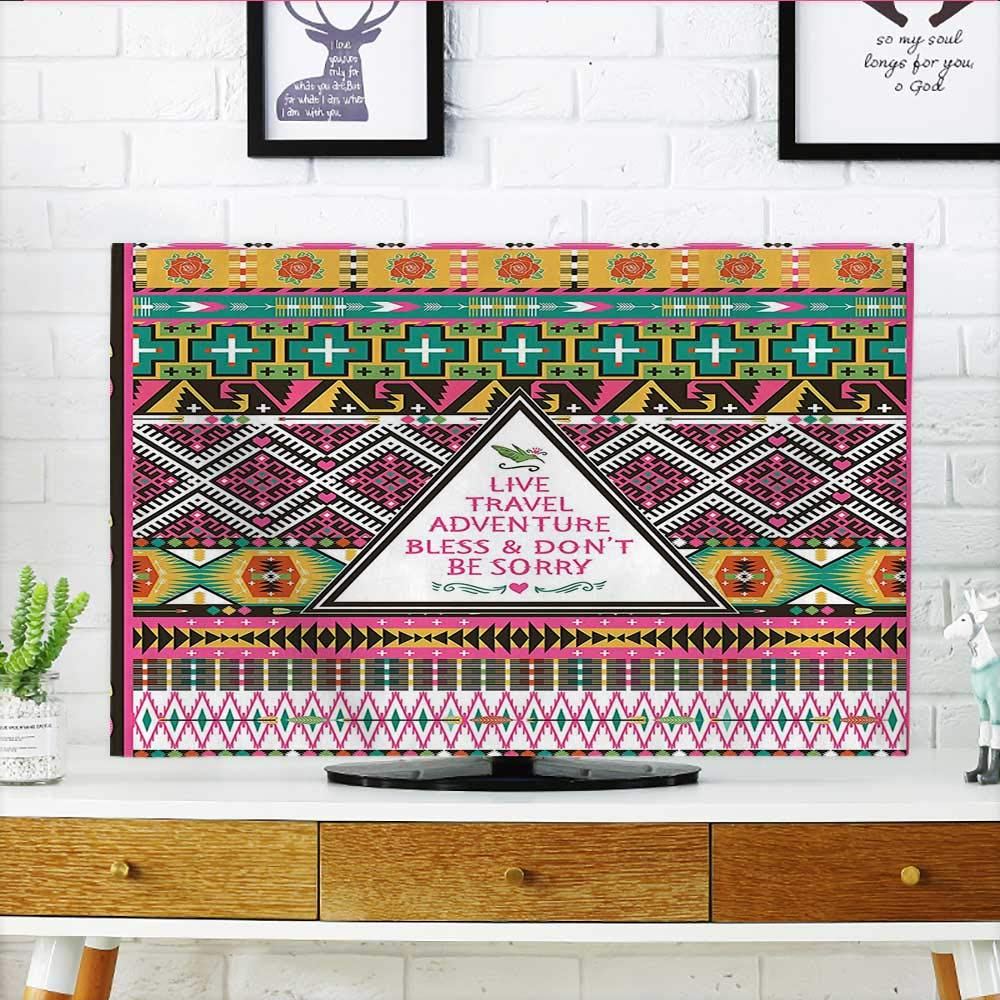 Auraisehome Television Protector Decorations Travel Adventure Boho Hippie Decor Television Protector W19 x H30 INCH/TV 32''