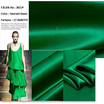 F.D. seda 19 mm 100% Mulberry Charmeuse de seda verde esmeralda verde tela por el