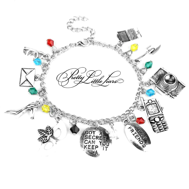 Blue Heron Pretty Little Liars 10 Logo Charms Lobster Clasp Bracelet w//Gift Box