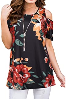 a3e956a202f2f7 Women's Floral Cold Shoulder Short Sleeve Casual Tops Tunic Shirts Loose  Blouse