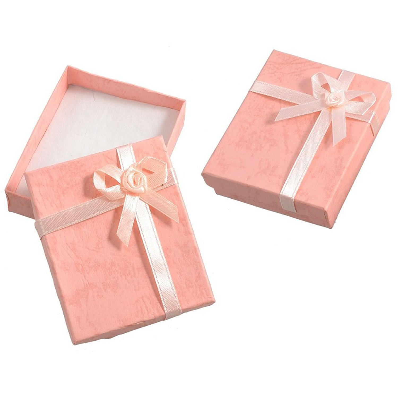 SODIAL(R) 2 pz scatole con fiocco per regalo braccialetto rosa 004670