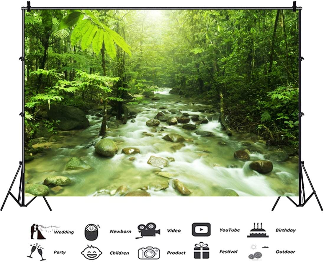 Yeele 10x8ft Spring Stream Lake Photography Background Green Tree Sunshine Forest Vacation Party Decoration Photo Backdrop Adults Portrait